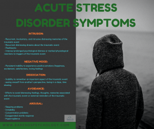 Acute stress disorder treatment and symptoms.