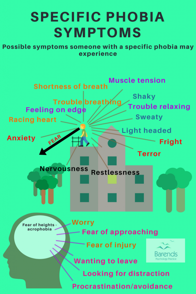 Specific phobia symptoms. All symptoms and signs someone with a specific phobia can experience.